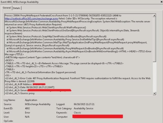 exchange 4002 tmg error